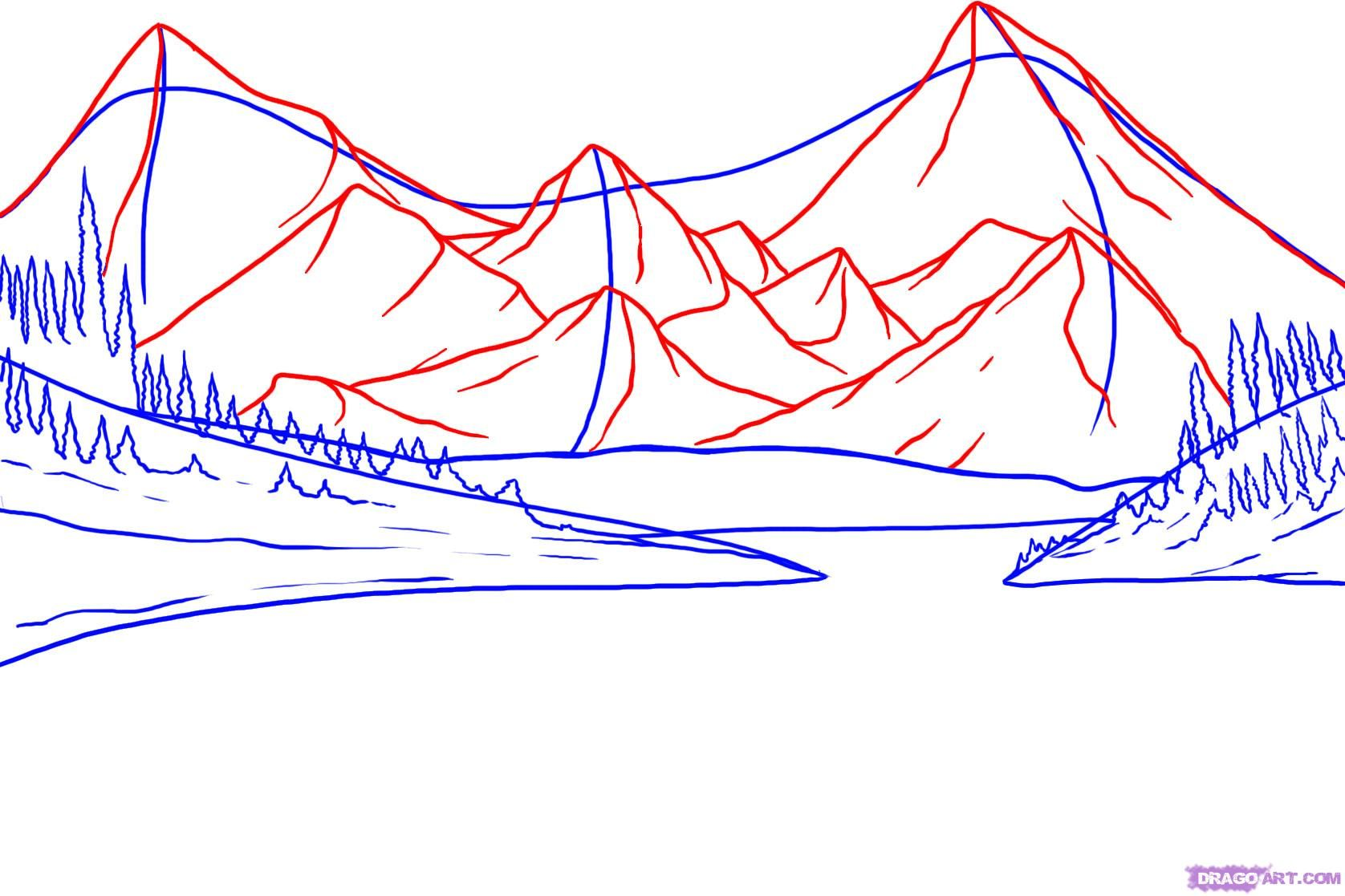 how to draw mountains with pencil step by step