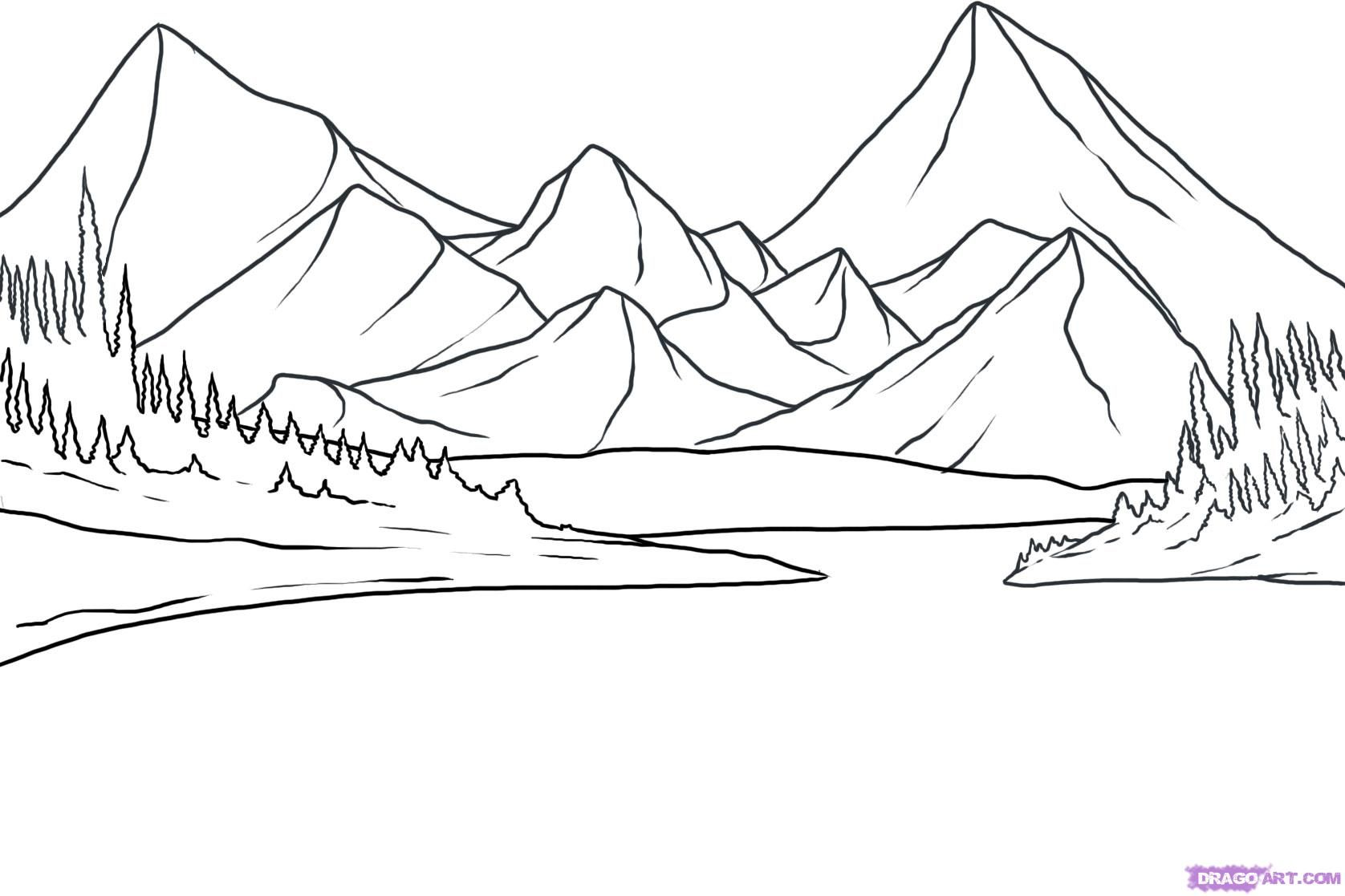 How to draw lakes near mountains with a pencil step by step