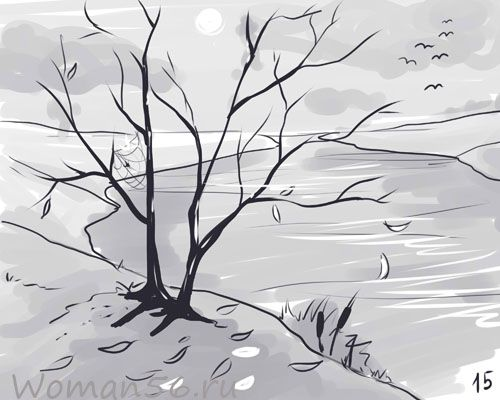 How to draw an autumn landscape with a pencil step by step