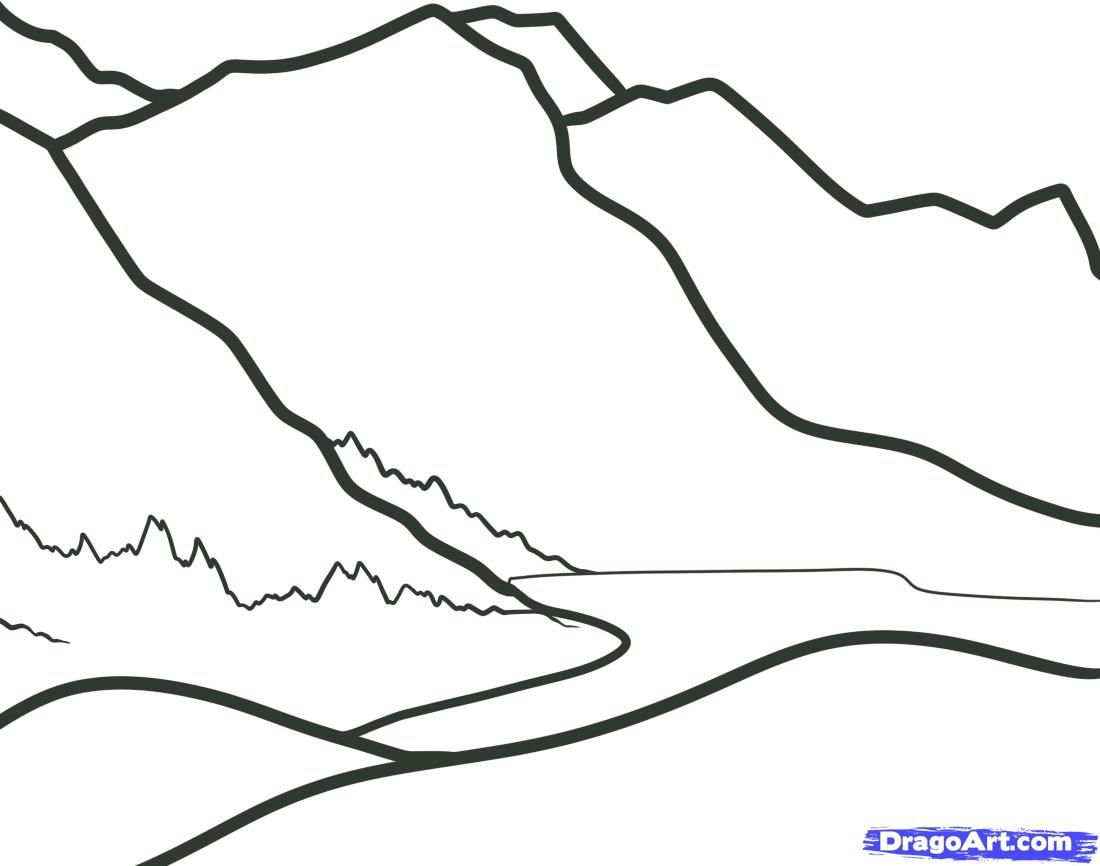 How to draw Mountains with a pencil step by step