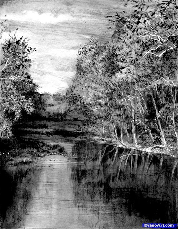 How to draw the river in the wood with a pencil step by step
