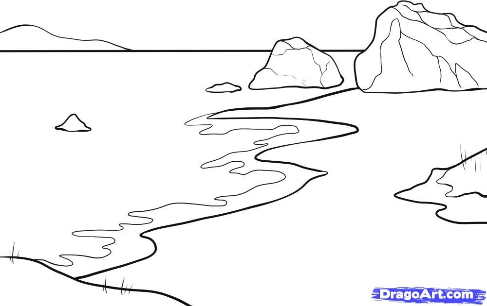 How to draw the Sand beach and the sea with a pencil step by step