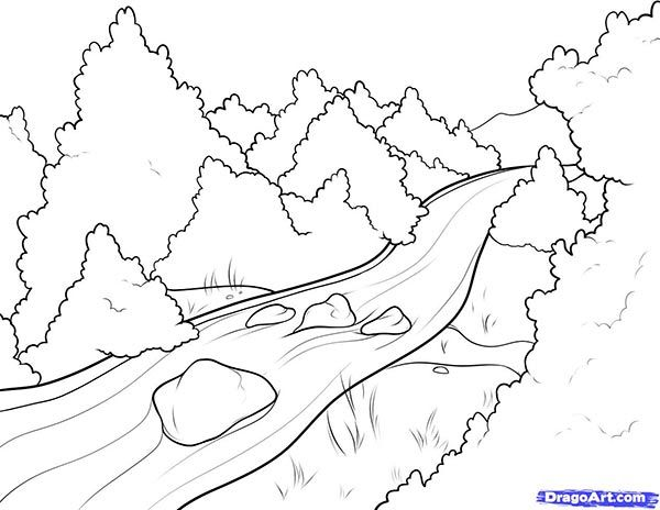 How to draw the Small river, through the wood with a pencil step by step