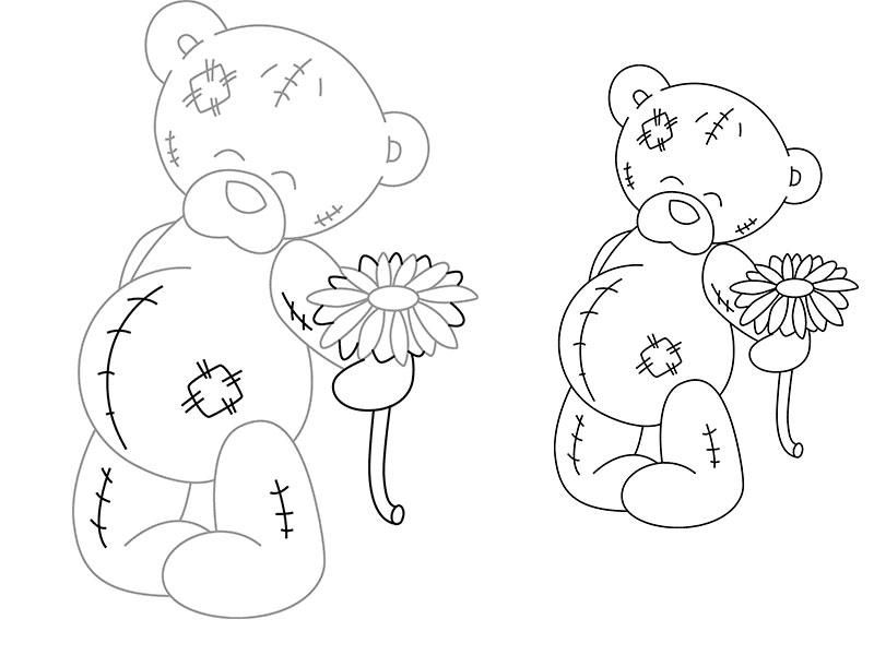 How to draw Teddie's bear with a flower a pencil step by step