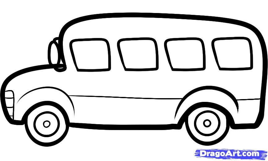 How to draw the bus to the child with a pencil