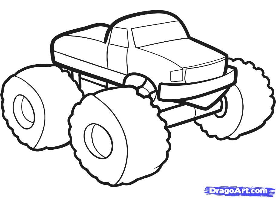 How to draw the car the monster a track with a pencil