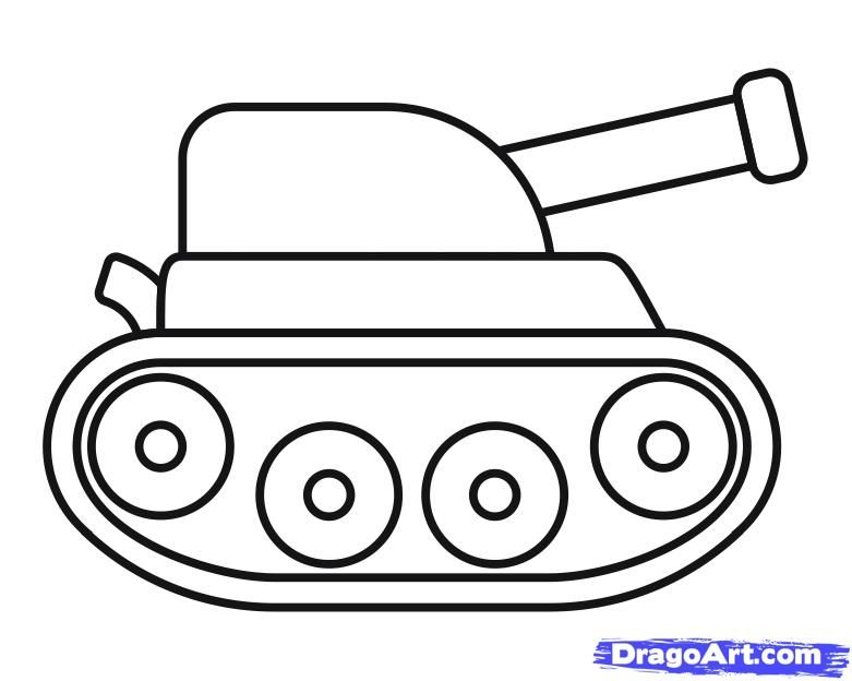 As it is simple to draw the tank to the child with a pencil