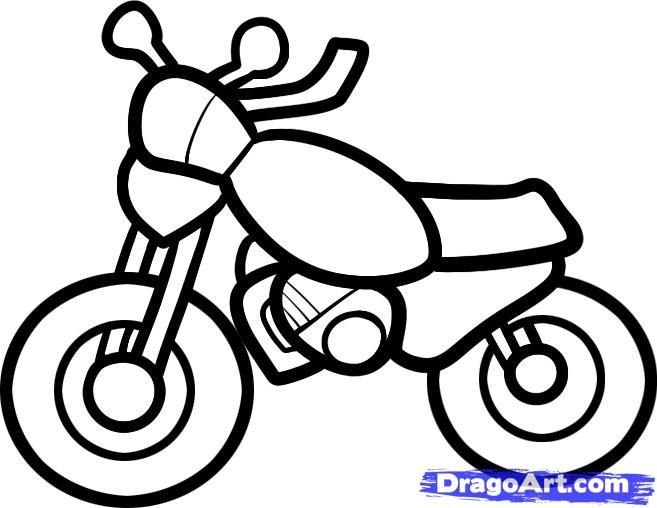 How to draw the motorcycle to the child with a pencil step by step