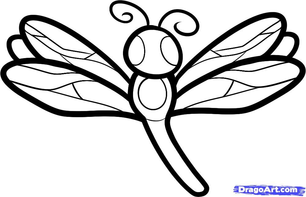 How to draw a dragonfly to the child with a pencil step by step
