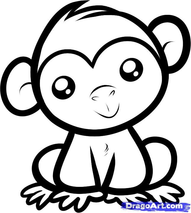 How to draw a little Chimpanzee to the child with a pencil step by step