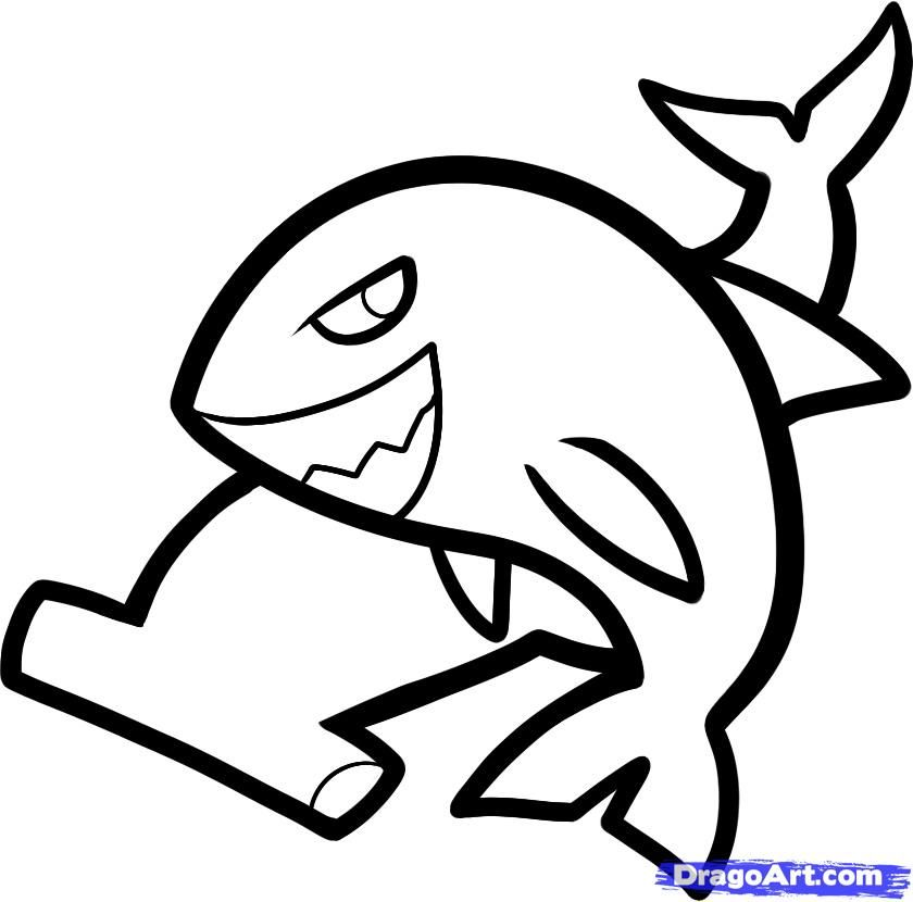 How to draw two sharks to the child with a pencil step by step