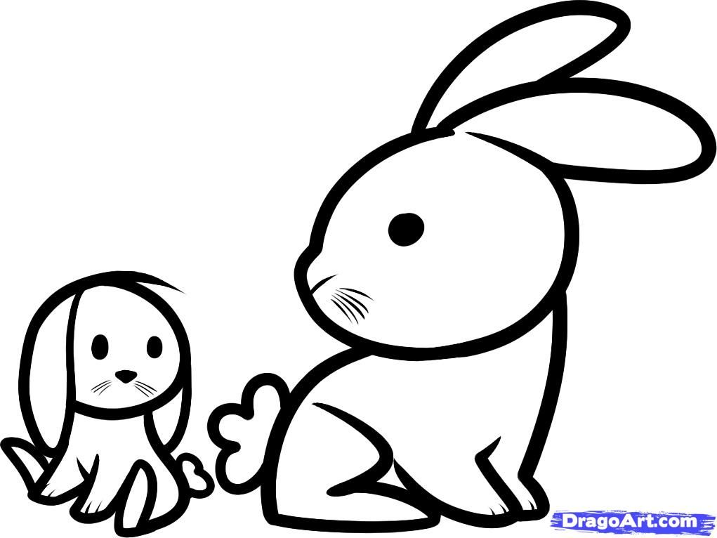 How to draw two little rabbits to the child with a pencil step by step