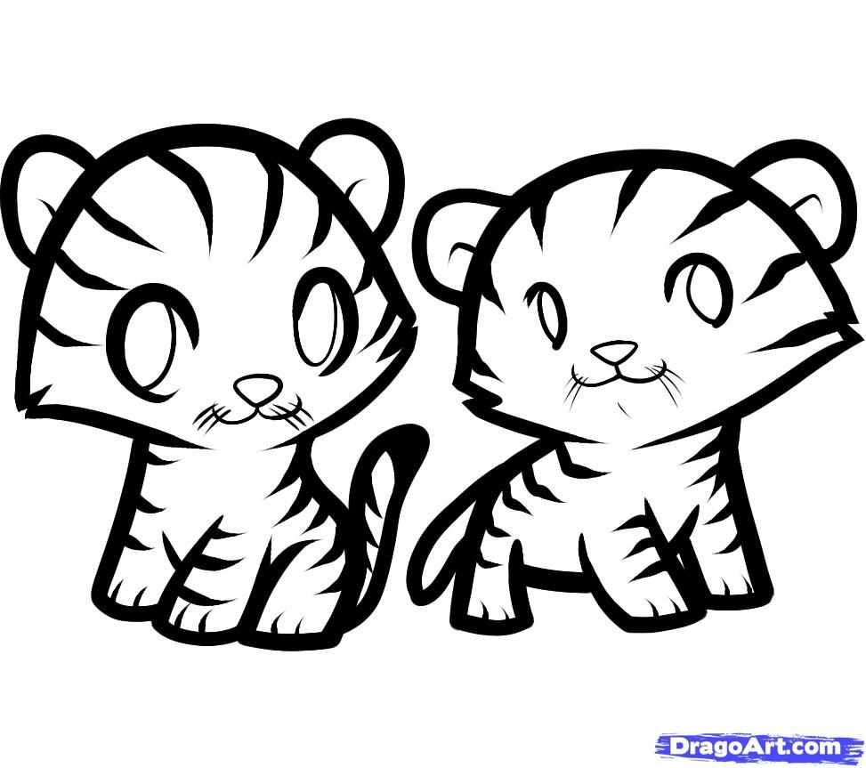 How to draw two tiger cubs to the child with a pencil step by step