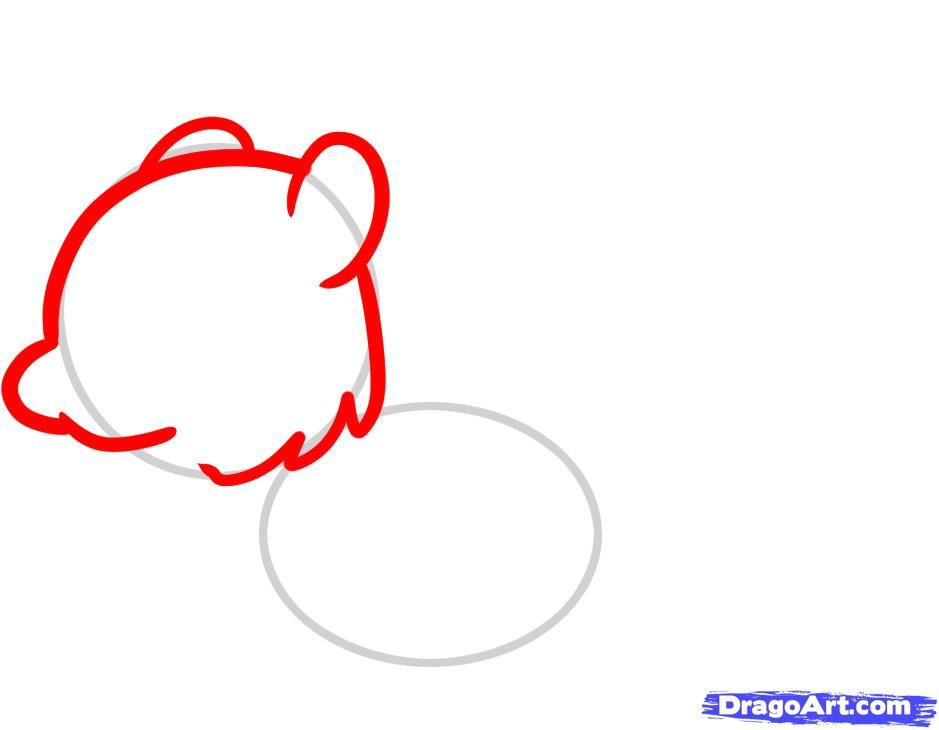 How to draw a chicken to the child with a pencil step by step 3