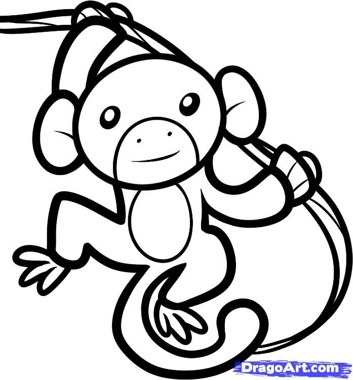 How to draw the Monkey to the child with a pencil step by step