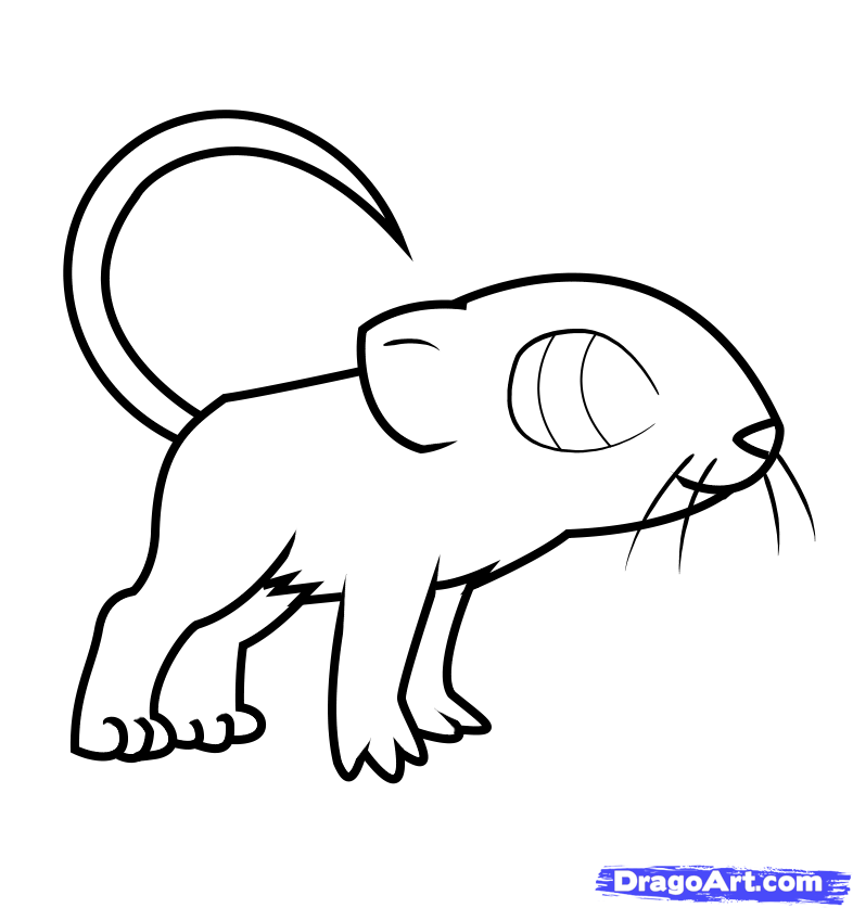 How to draw a nice mouse to the child with a pencil step by step