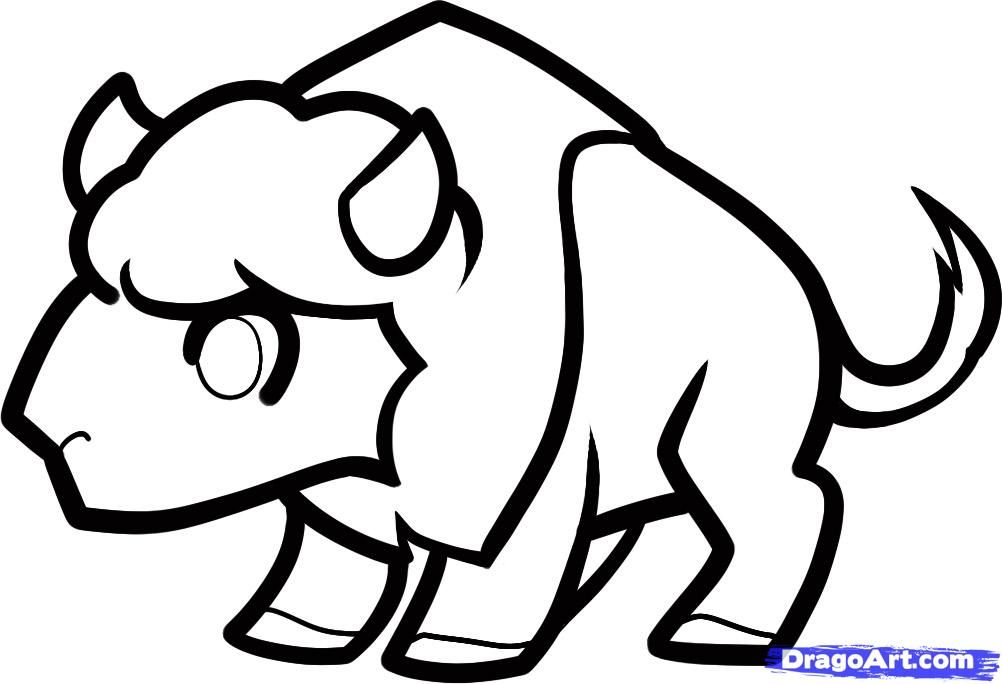 How to draw a little buffalo to the child with a pencil step by step