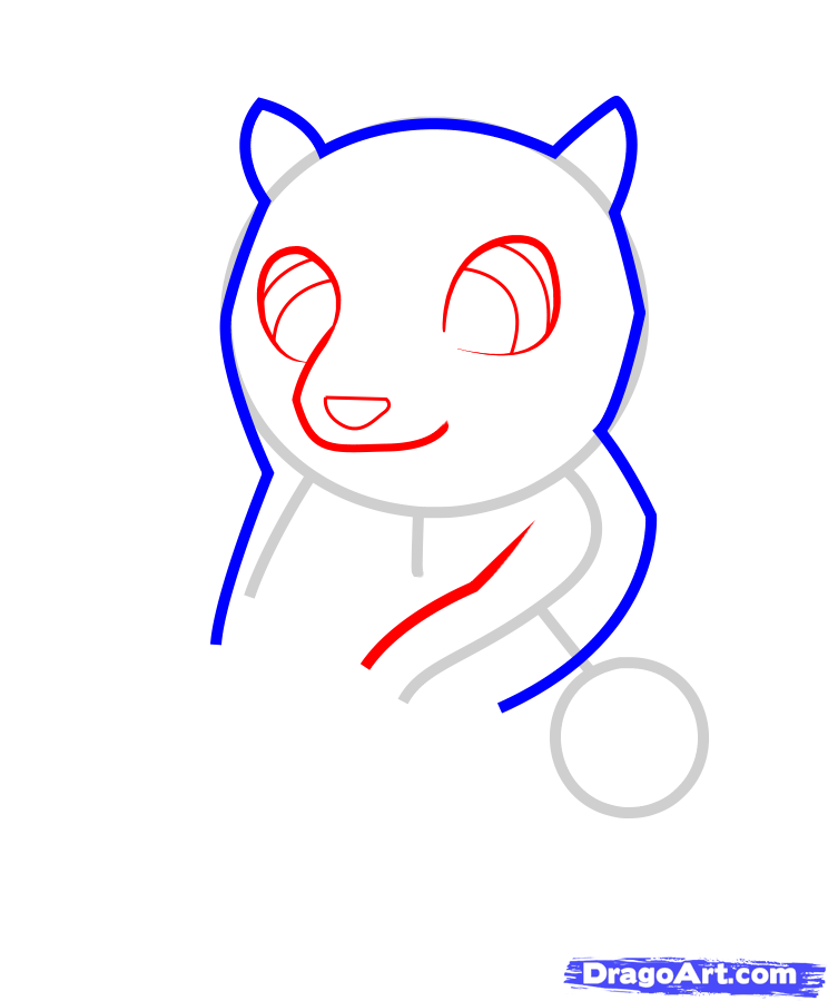 How to draw a little badger to the child with a pencil step by step 4