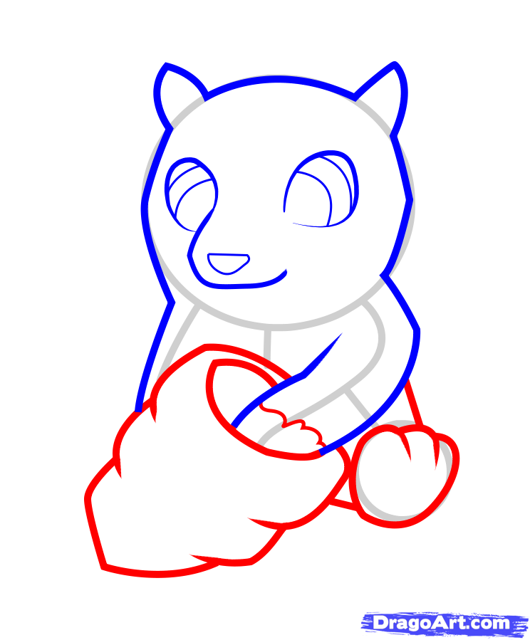 How to draw a little badger to the child with a pencil step by step 5