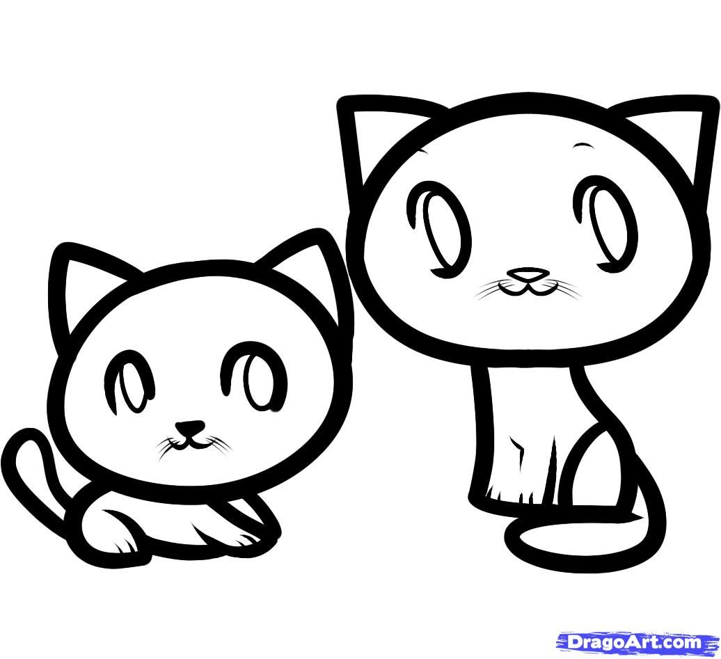 How to draw two little kittens to the child with a pencil step by step