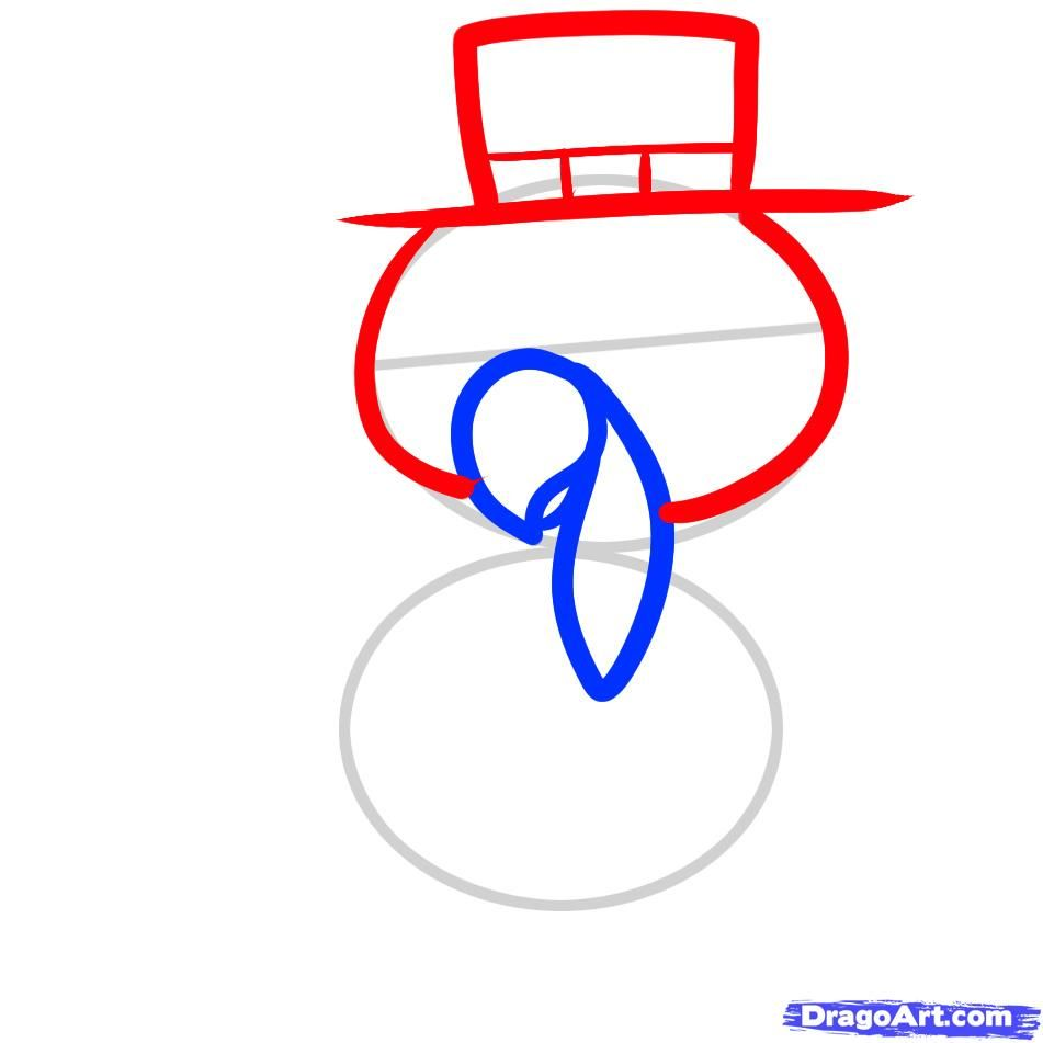 How to draw a little rabbit in a hat to the child with a pencil step by step 4