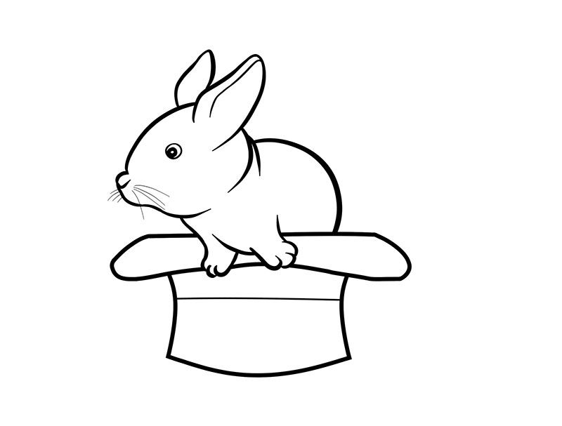 How to draw a little rabbit in a hat to the child with a pencil step by step