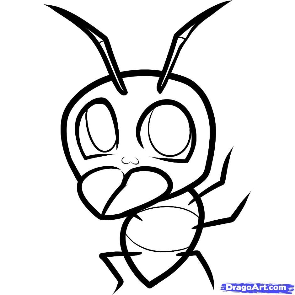 How to draw a cheerful ant to the child with a pencil step by step