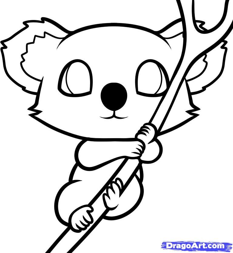 How to draw a little koala to the child with a pencil step by step