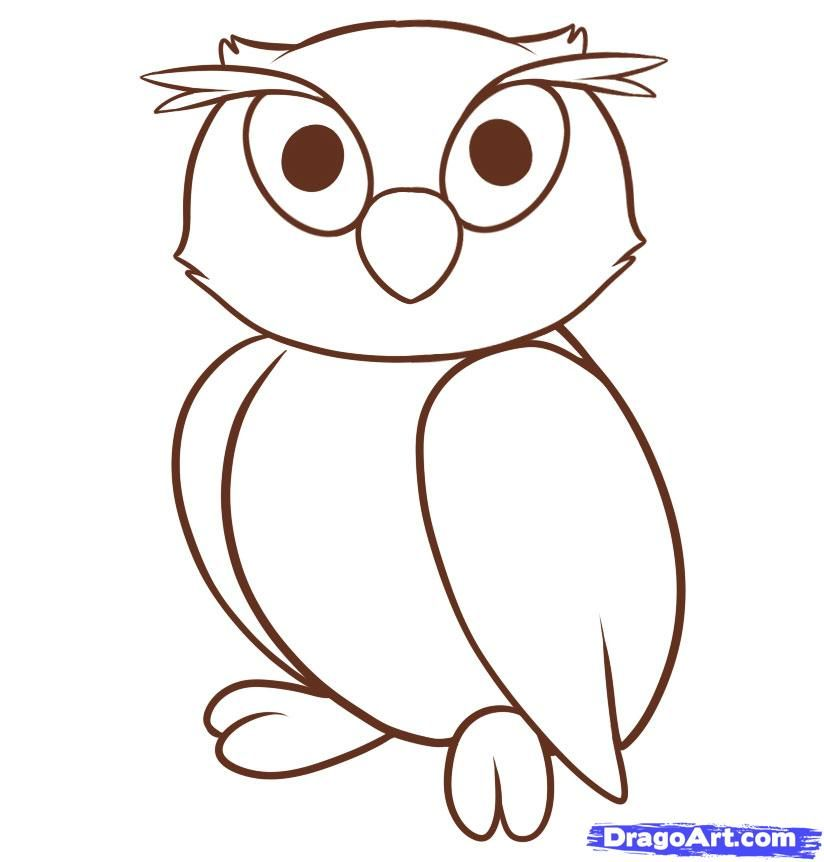 How to draw an owl to the child with a pencil step by step