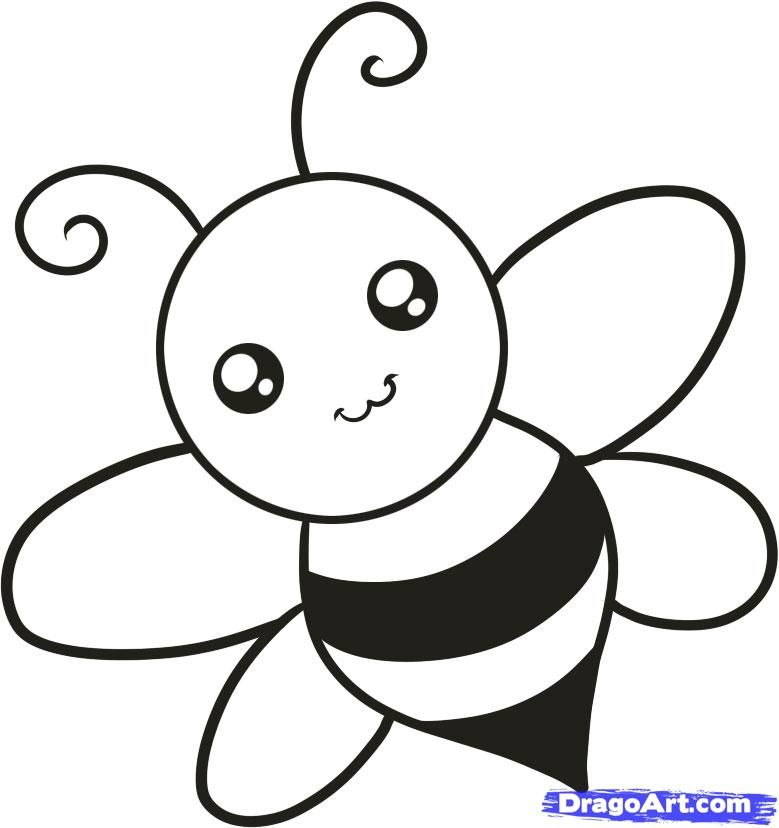 How to draw the bee to the child with a pencil step by step