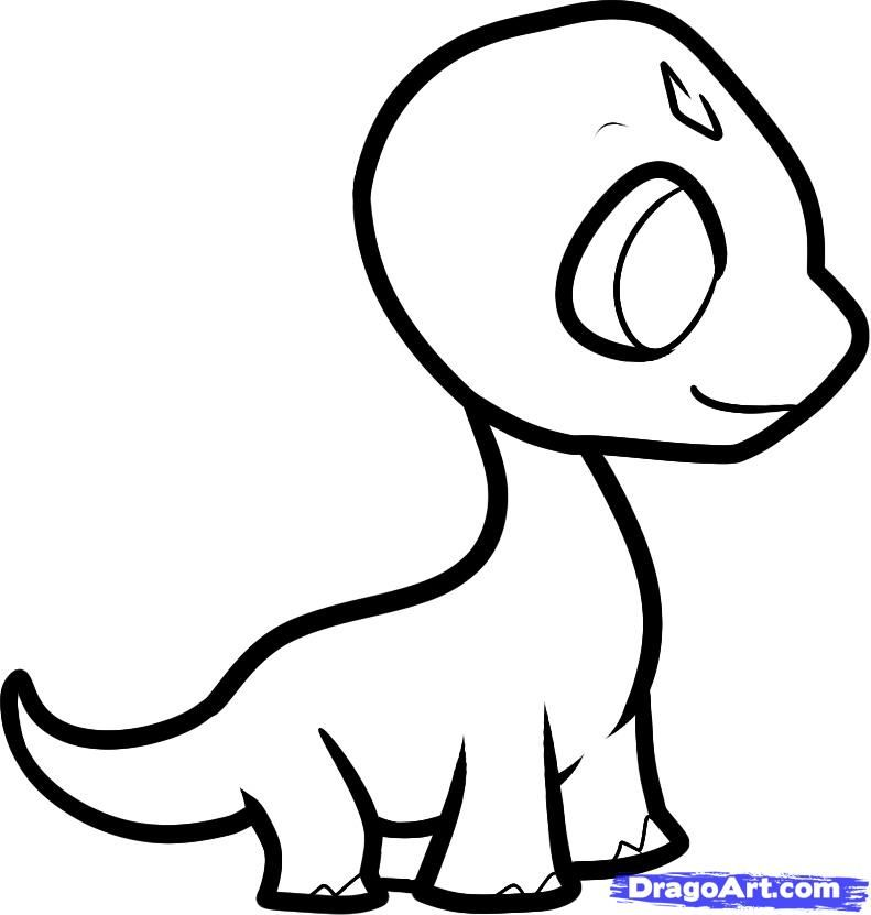 How to draw a cub of the brachiosaur to the child with a pencil step by step