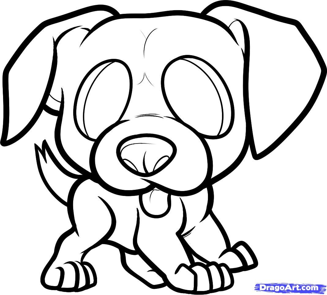 How to draw the boxer's puppy to the child with a pencil step by step