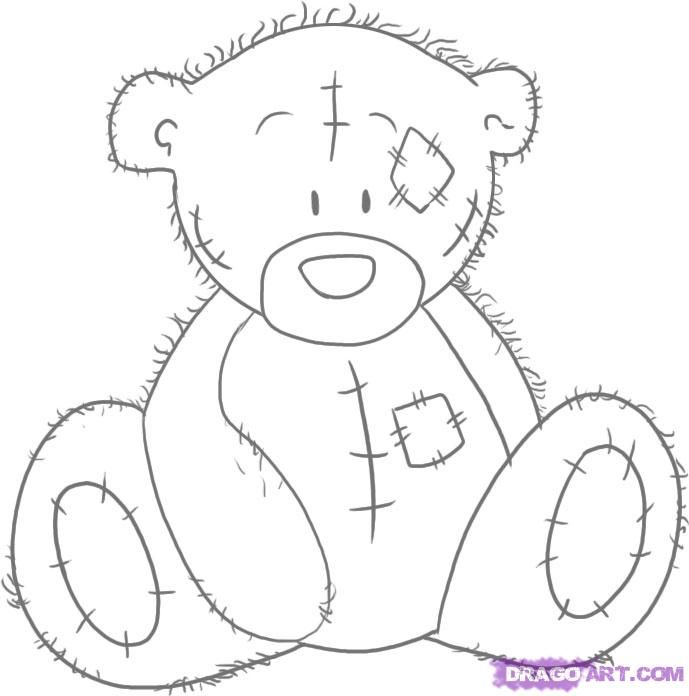 How to draw Teddie's bear with a pencil step by step