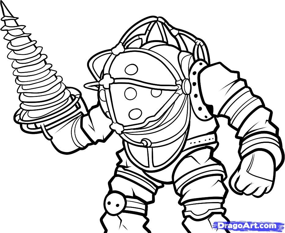 How to draw Big Daddy from Bioshock with a pencil step by step