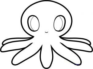 How to draw an octopus to the child step by step