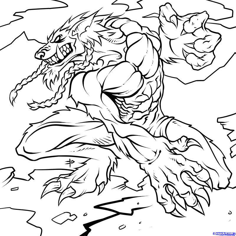 How to draw Vorgen from World of Warcraft with a pencil step by step