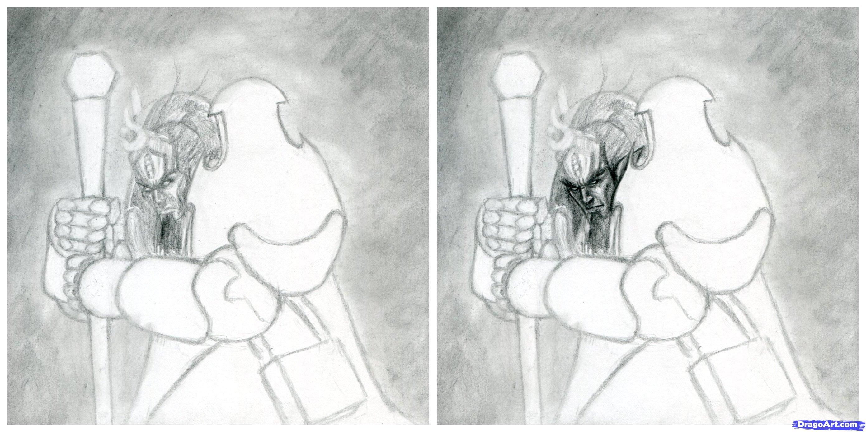 How to draw the demon from Diablo Prime Evil with a pencil step by step 4