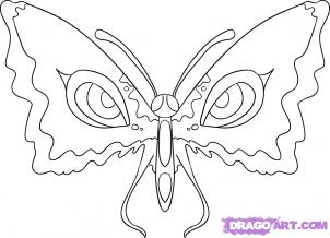How to draw a butterfly with eyes on wings