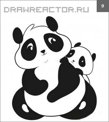 How to draw two pandas step by step