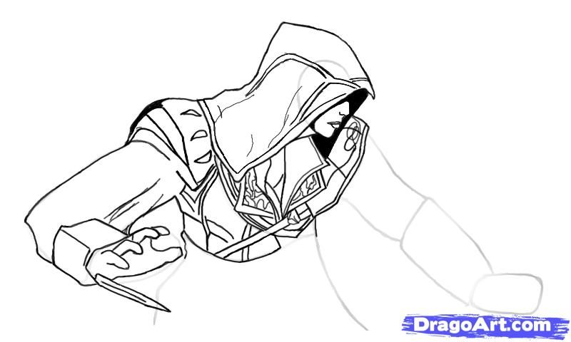 How To Draw Ezio From Assassins Creed With A Pencil Step By Step
