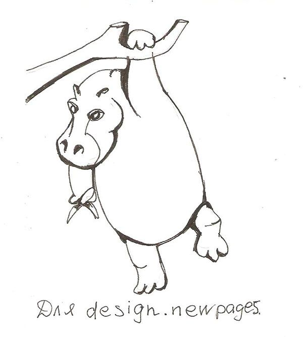 How to draw the hippopotamus hanging on a tree step by step
