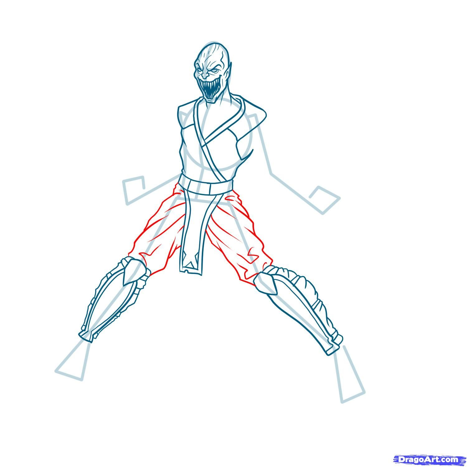 How to draw the Scorpion to the utmost from Mortal Kombat with a pencil step by step 11