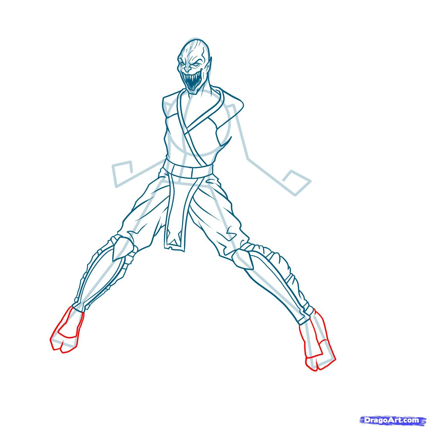 How to draw the Scorpion to the utmost from Mortal Kombat with a pencil step by step 12