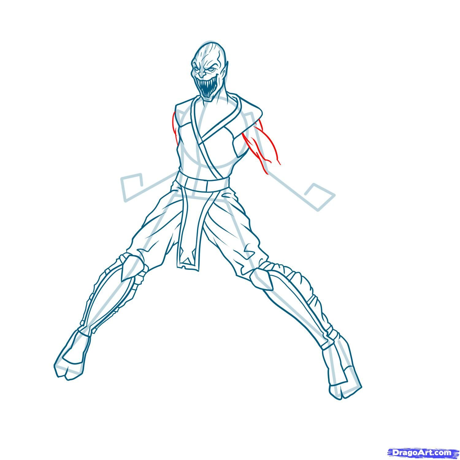 How to draw the Scorpion to the utmost from Mortal Kombat with a pencil step by step 13