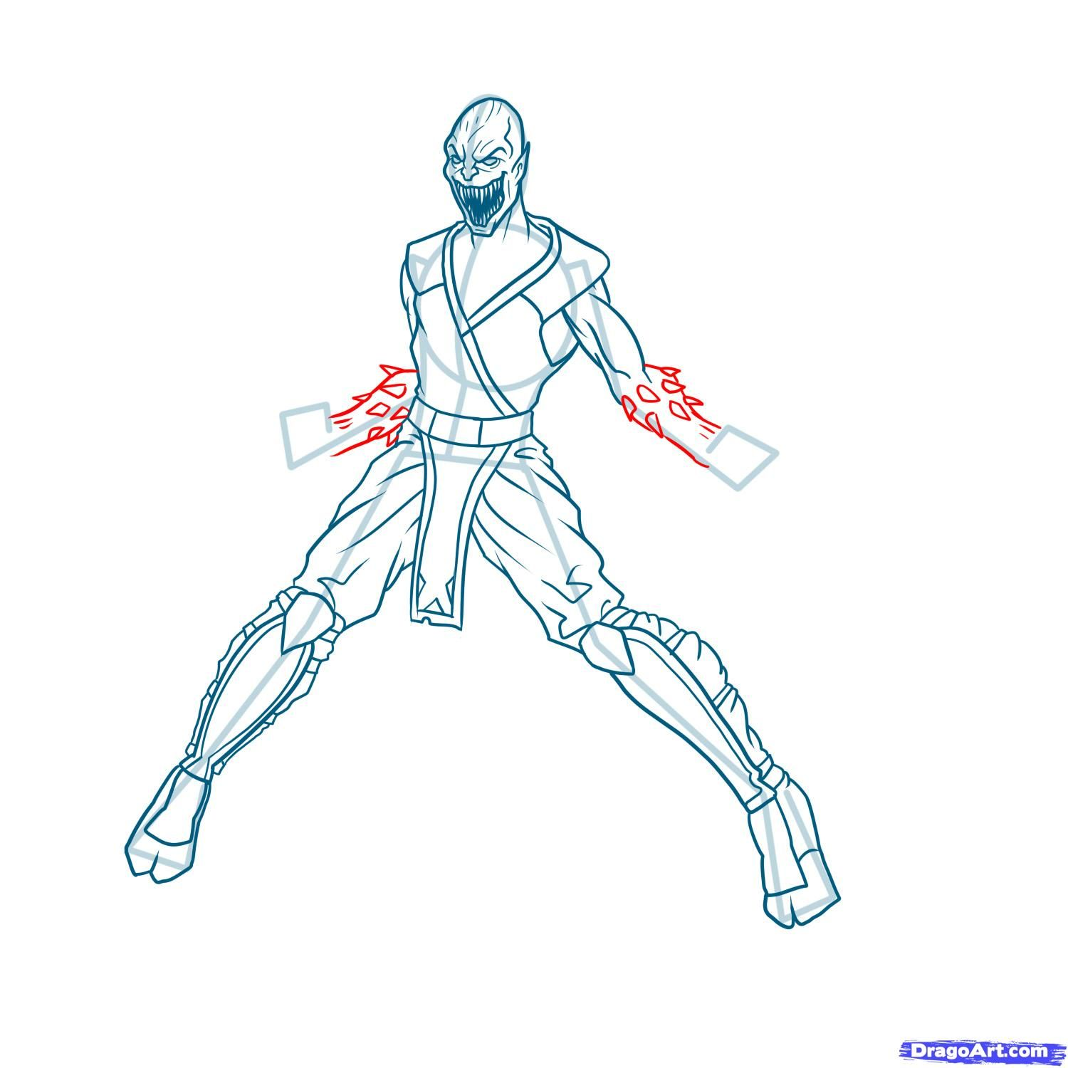 How to draw the Scorpion to the utmost from Mortal Kombat with a pencil step by step 14
