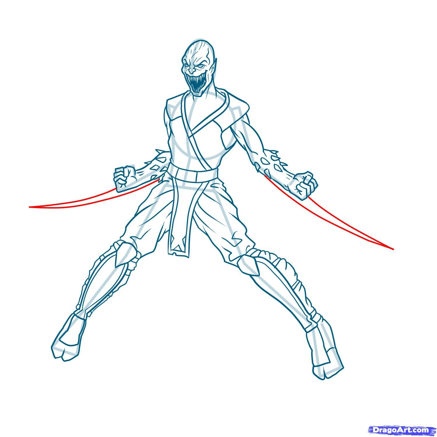 How to draw the Scorpion to the utmost from Mortal Kombat with a pencil step by step 16