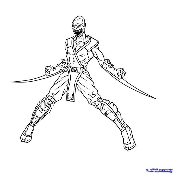 How to draw the Scorpion to the utmost from Mortal Kombat with a pencil step by step 19