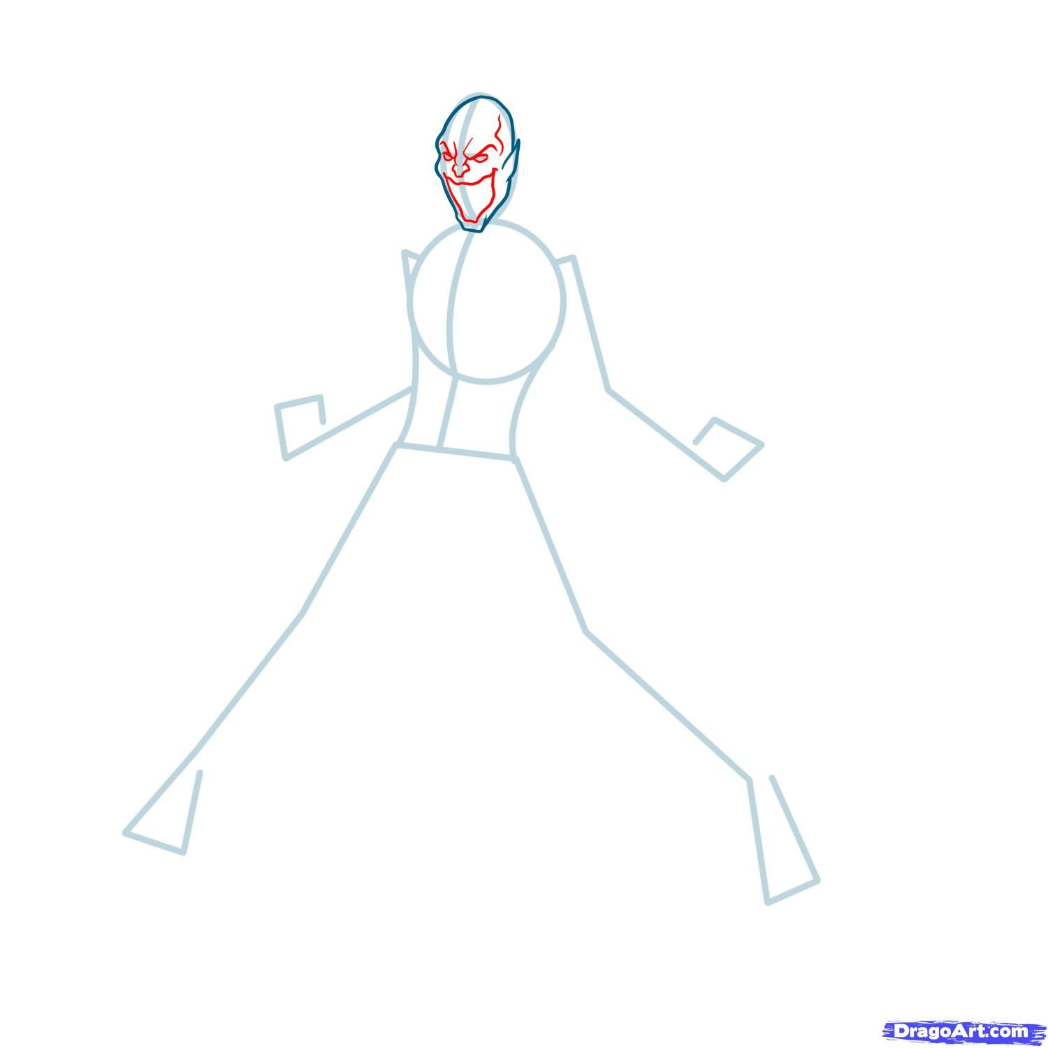 How to draw the Scorpion to the utmost from Mortal Kombat with a pencil step by step 4