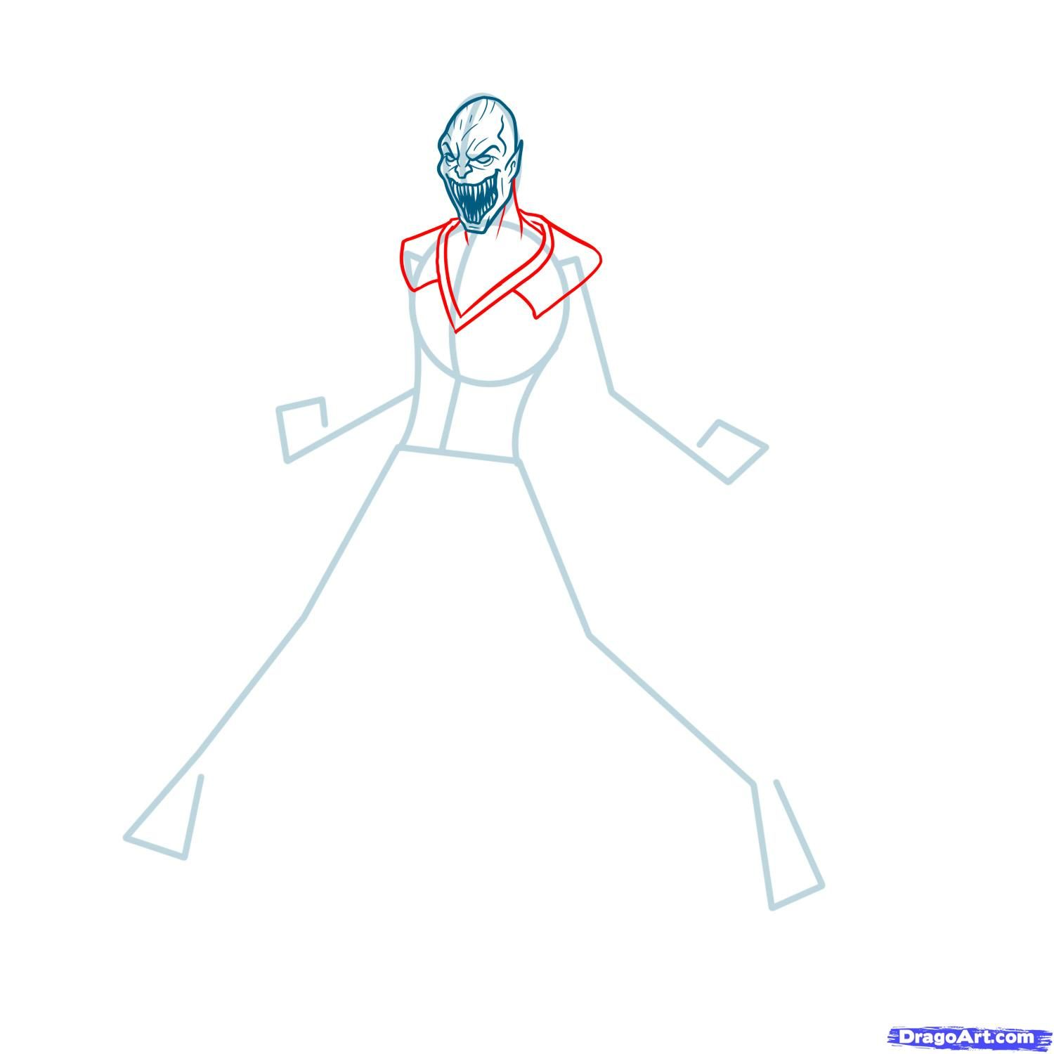 How to draw the Scorpion to the utmost from Mortal Kombat with a pencil step by step 6