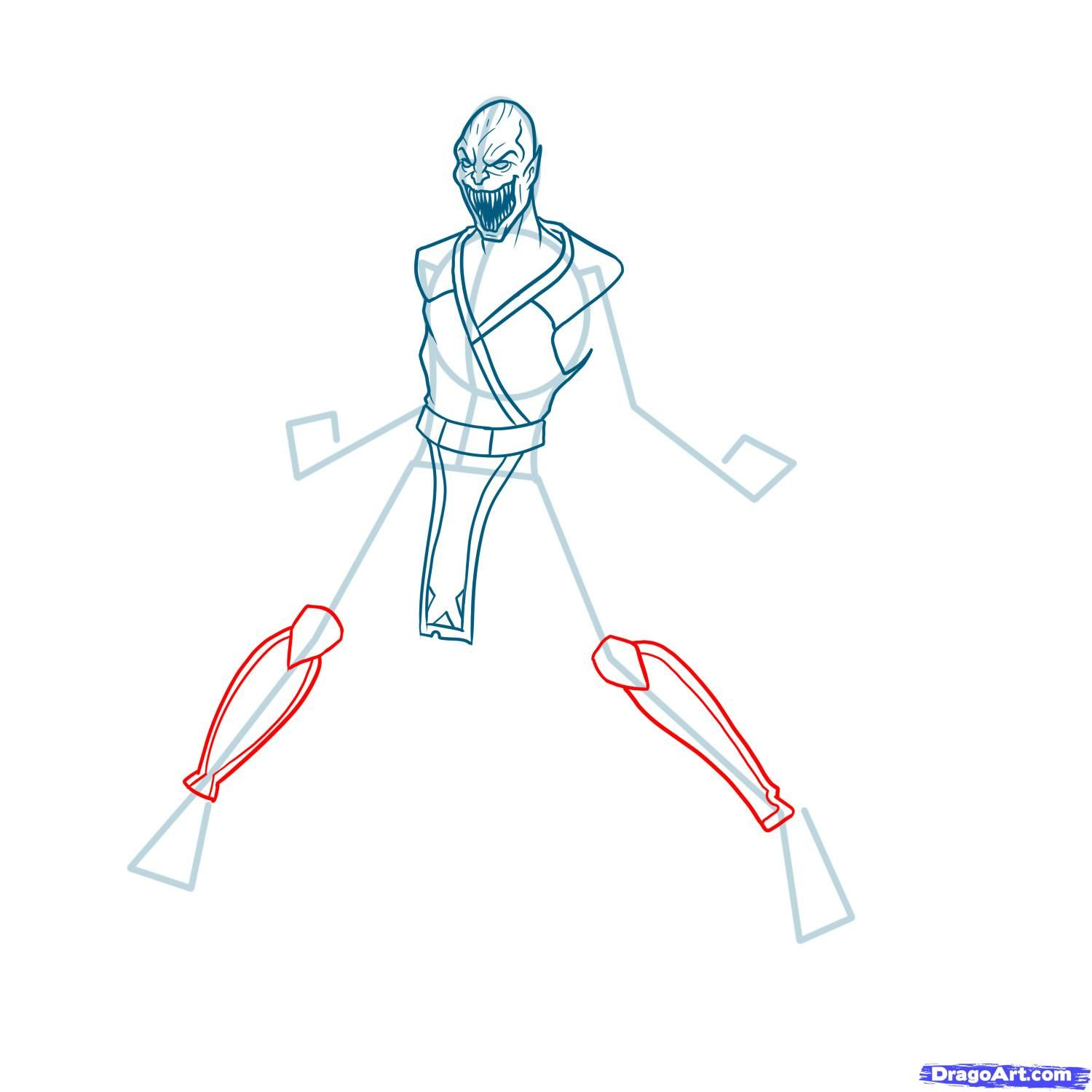 How to draw the Scorpion to the utmost from Mortal Kombat with a pencil step by step 9